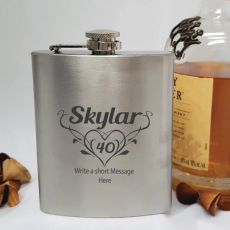 40th Birthday Engraved Personalised Silver Hip Flask (F)