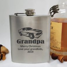 Grandpa Engraved Silver Flask