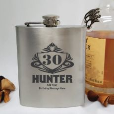 30th Birthday Engraved Personalised Silver Hip Flask (M)