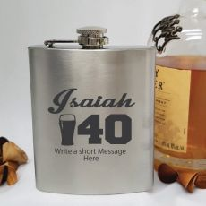 40th Birthday Engraved Personalised Silver Hip Flask (M)