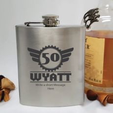 50th Birthday Engraved Personalised Silver Hip Flask (M)