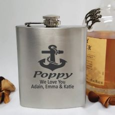Pop Engraved Silver Flask