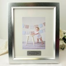 Naming Day Personalised Photo Frame 5x7 Photo Silver