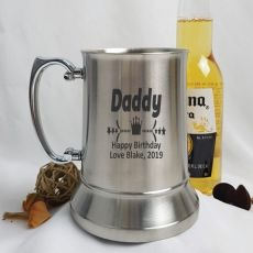 Dad Engraved Personalised Stainless Beer Stein Glass