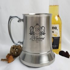 18th Birthday Engraved Personalised Stainless Beer Stein Glass (F)
