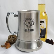 21st Birthday Engraved Personalised Stainless Beer Stein Glass (F)
