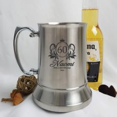 60th Birthday Engraved Personalised Stainless Beer Stein Glass (F)