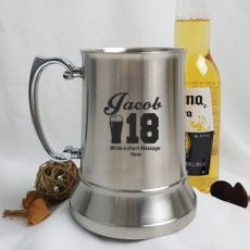 18th Birthday Engraved Personalised Stainless Beer Stein Glass (M)