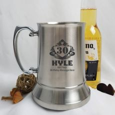 30th Birthday Engraved Personalised Stainless Beer Stein Glass (M)
