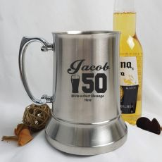 50th Birthday Engraved Personalised Stainless Beer Stein Glass (M)