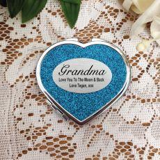 Grandma Glitter Heart Compact Mirror