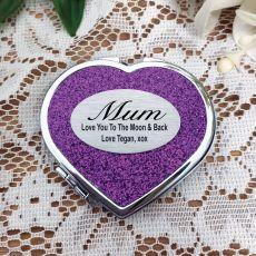 Mum Glitter Heart Compact Mirror