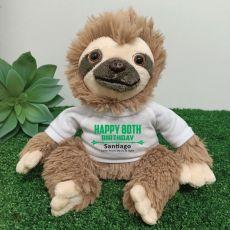 Personalised 80th Birthday  Sloth Plush - Curtis