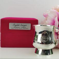 Baby Girl Christening Mug in Personalised Velvet Box
