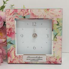Personalised Glass Desk Clock - Peony