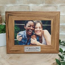 40th Personalised Teak Photo Frame with Gold Plaque