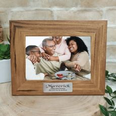 60th Personalised Teak Photo Frame with Gold Plaque
