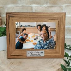 80th Personalised Teak Photo Frame with Gold Plaque
