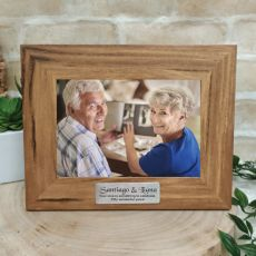 Anniversary Personalised Teak Photo Frame with Gold Plaque