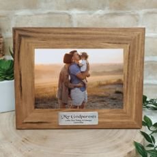 Godparent Personalised Teak Photo Frame with Gold Plaque