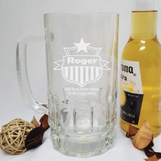 Coach Engraved Personalised Glass Beer Stein