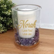 Personalised Patchouli Lavender Candle With Gemchips