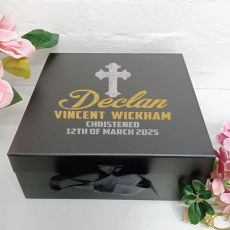 Christening Keepsake Box Black Hamper Gift Box
