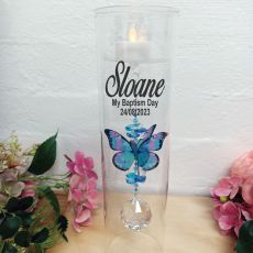 Baptism Glass Candle Holder Blue Rainbow Butterfly