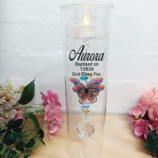 Baptism Glass Candle Holder Rainbow Butterfly