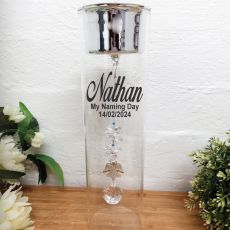 Naming Day Glass Candle Holder Sapphire