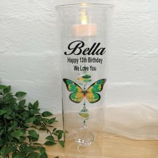 13th Birthday Glass Candle Holder Green Butterfly