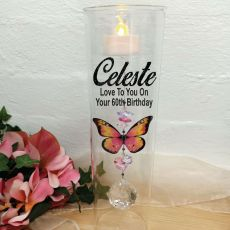 60th Birthday Glass Candle Holder Pink Butterfly