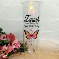 70th Birthday Glass Candle Holder Pink Butterfly