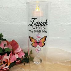 90th Birthday Glass Candle Holder Pink Butterfly