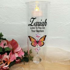 Baptism Glass Candle Holder Pink Butterfly