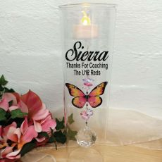 Coach Glass Candle Holder Pink Butterfly
