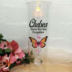 Memorial Glass Candle Holder Pink Butterfly