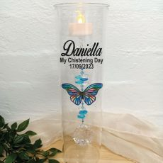 Christening Glass Candle Holder Blue Stripe Butterfly