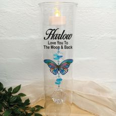 Glass Candle Holder Blue Stripe Butterfly