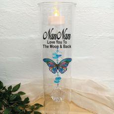 Nana Glass Candle Holder Blue Stripe Butterfly