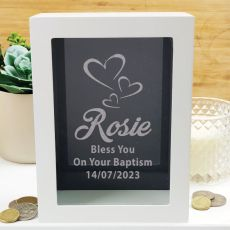 Baptism Personalised Money Box Photo Insert - Black