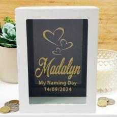 Naming Day Personalised Money Box Photo Insert - Black
