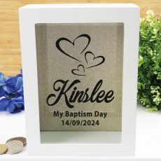 Baptism Personalised Money Box Photo Insert - Gold