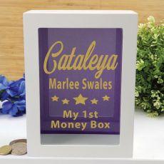 Personalised First Money Box Photo Insert - Purple Star