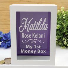 Personalised First Money Box Photo Insert - Purple Swirl