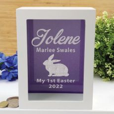 Personalised First Easter Money Box - Purple