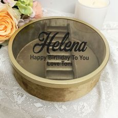 Personalised Birthday Jewellery Box Gold Velvet Round