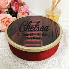 80th Birthday Jewellery Box Red Velvet Round