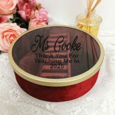 Teacher Jewellery Box Red Velvet Round
