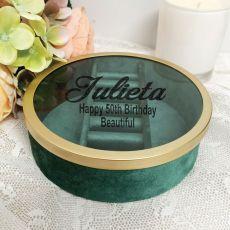 50th Green Velvet Round Jewellery Box